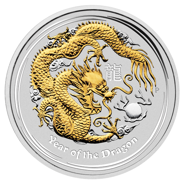 2012 Australia 4-Coin 1 oz Silver Year of the Dragon Type Set